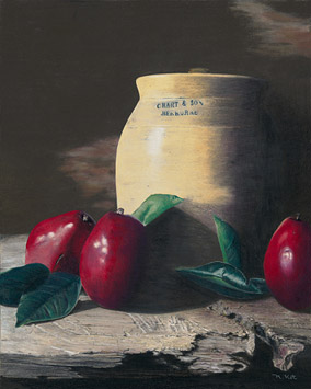 Red Pears with Crock